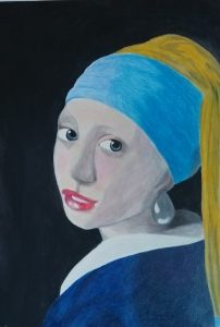 Dekle z bisernim uhanom after Vermeer The girl with a pearl earring interpretacija 1
